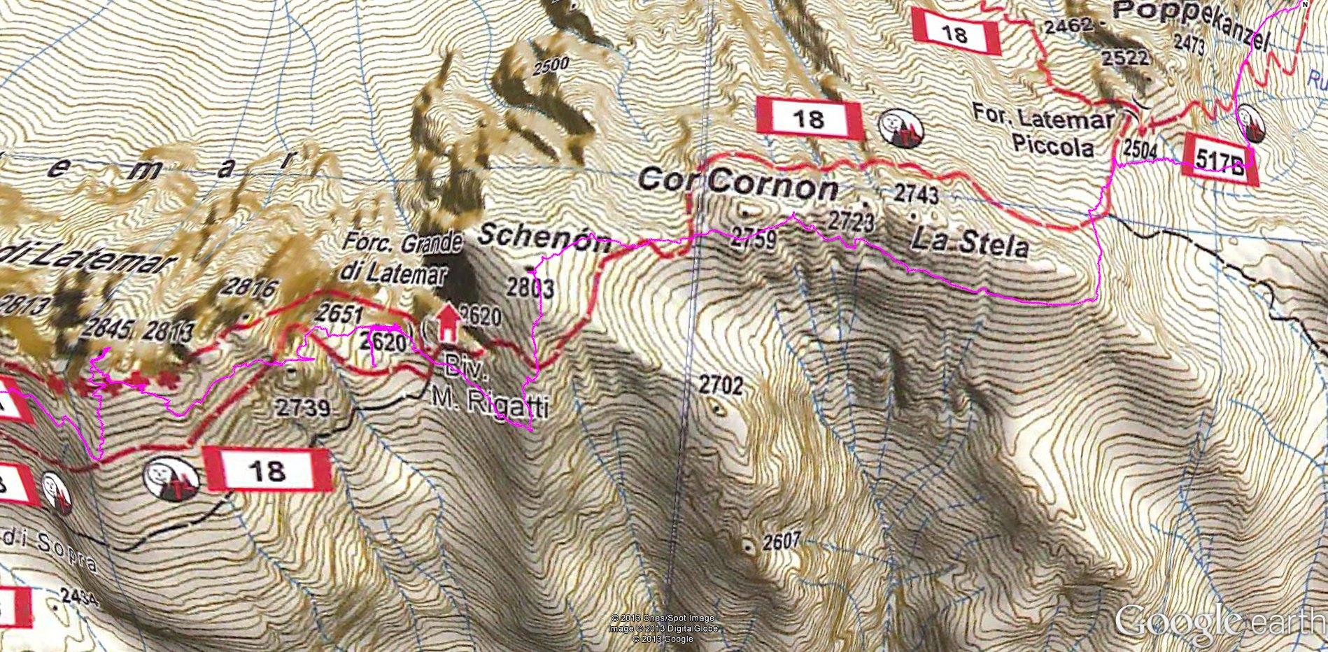 La mappa Trekkart col probabile sentiero fantasma...