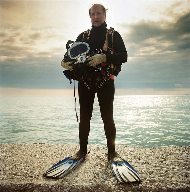 Andrea Salvotti, operatore subacqueo, molo frangiflutti al largo del bagno Ausonia, Trieste